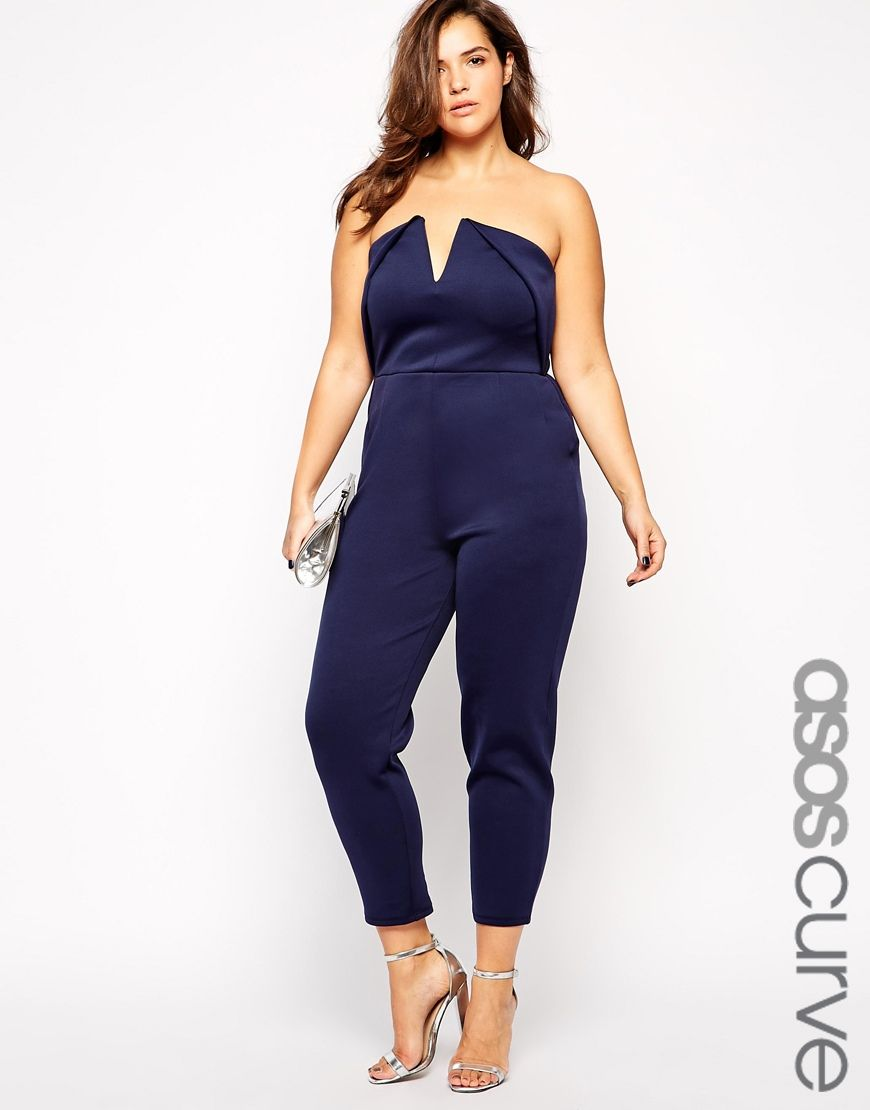 overall o frau jumpsuit blau schulterfrei asos curve. Black Bedroom Furniture Sets. Home Design Ideas