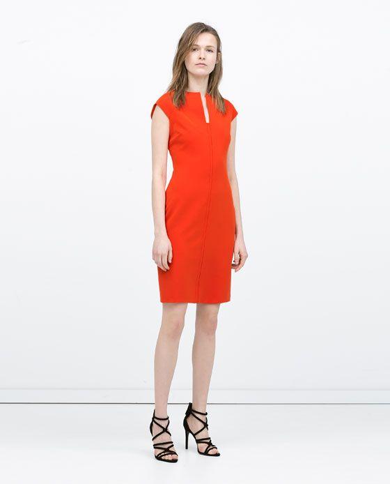 Kleid A-Frau Kleid orange Zara | Stilpalast
