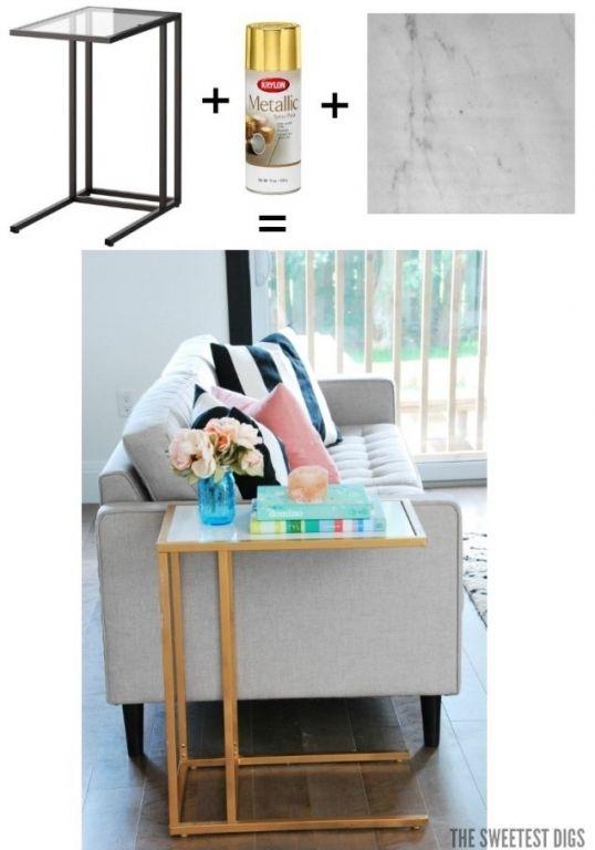 Wie Du Einen Gewhnlichen Laptop Tisch ZB VITTSJ Von IKEA In Ein Unikat Verwandelst Ganz Einfach Mit Gold Sprhfarbe Und Marmor Folie