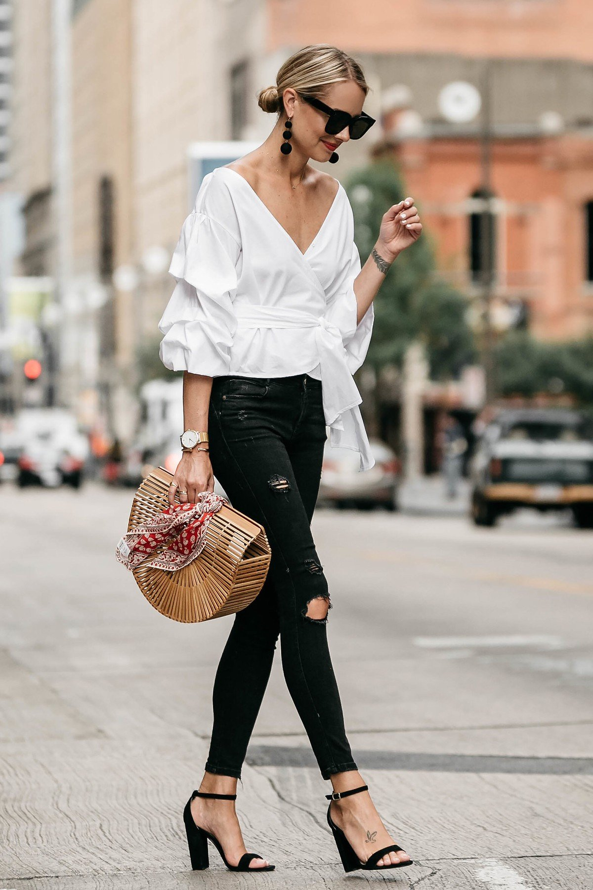 Streetstyle Fashion-Jackson-Club-Monaco-White-Ruffle-Sleeve-Wrap-Top-Cult-Gaia-Ark-Bag-Large-Red-Bandana-Black-Ripped-Skinny-Jeans.jpg